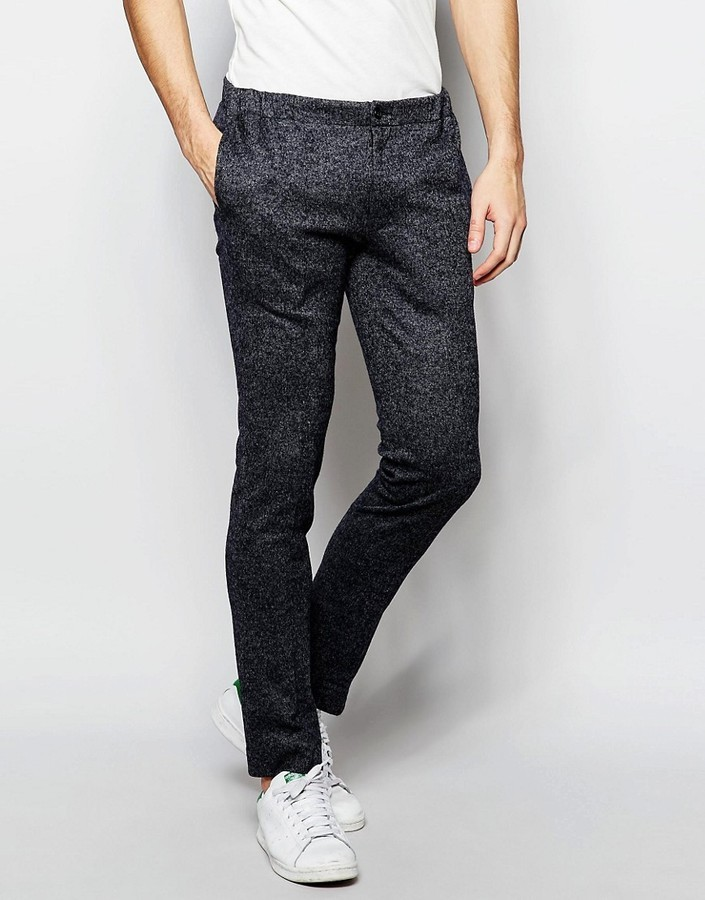Мужские темно-серые шерстяные классические брюки от Asos