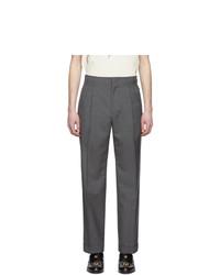 Мужские темно-серые шерстяные классические брюки от Gucci