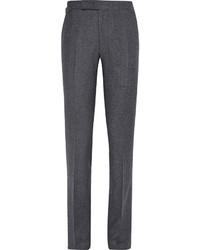 Мужские темно-серые шерстяные классические брюки от Richard James