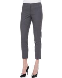 Темно-серые шерстяные узкие брюки