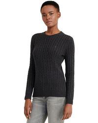 Темно-серый вязаный вязаный свитер