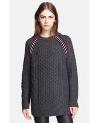 Темно-серый вязаный свободный свитер