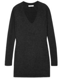Женский темно-серый вязаный свободный свитер
