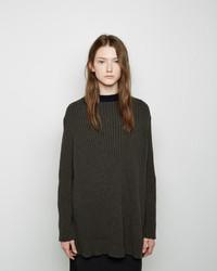 Женский темно-серый вязаный свободный свитер от Marni