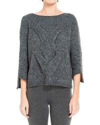 Женский темно-серый вязаный свободный свитер от Max Studio