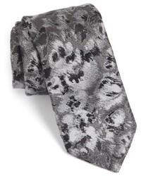 Темно-серый галстук с цветочным принтом