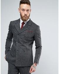 """Мужской темно-серый двубортный пиджак с узором """"в ёлочку"""" от Asos"""