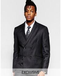 Мужской темно-серый двубортный пиджак
