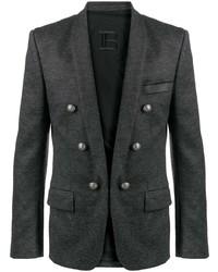 Мужской темно-серый двубортный пиджак от Balmain