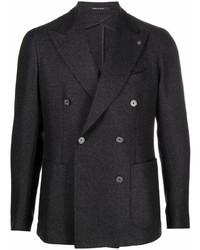 Мужской темно-серый двубортный пиджак от Tagliatore