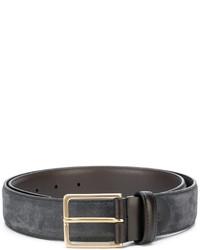 Мужской темно-серый кожаный ремень от Canali