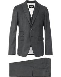Мужской темно-серый костюм-тройка в вертикальную полоску от DSQUARED2