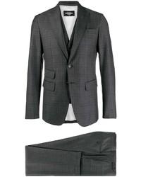 Темно-серый костюм-тройка в клетку
