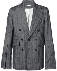 Мужской темно-серый льняной двубортный пиджак в вертикальную полоску от Ann Demeulemeester