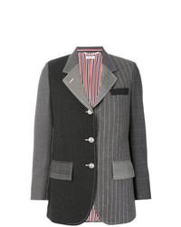 Женский темно-серый пиджак в вертикальную полоску от Thom Browne