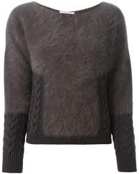 Темно-серый пушистый свитер с круглым вырезом