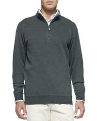 Темно-серый свитер с воротником на молнии