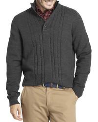 Темно-серый свитер с воротником на пуговицах