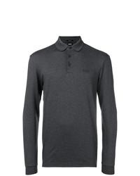 Мужской темно-серый свитер с воротником поло от BOSS HUGO BOSS