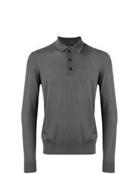 Мужской темно-серый свитер с воротником поло от Giorgio Armani