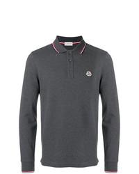 Мужской темно-серый свитер с воротником поло от Moncler