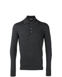 Мужской темно-серый свитер с воротником поло от Tom Ford