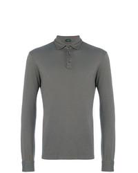 Мужской темно-серый свитер с воротником поло от Zanone