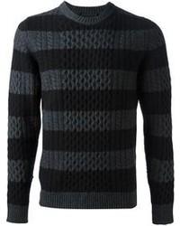 Темно-серый свитер с круглым вырезом в горизонтальную полоску