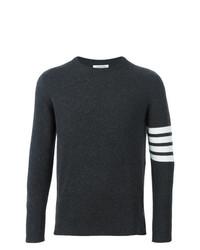 Мужской темно-серый свитер с круглым вырезом в горизонтальную полоску от Thom Browne