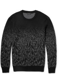 Темно-серый свитер с круглым вырезом с камуфляжным принтом