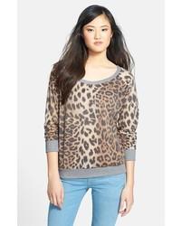 Темно-серый свитер с круглым вырезом с леопардовым принтом