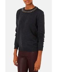 Темно-серый свитер с круглым вырезом с украшением
