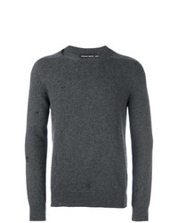 Мужской темно-серый свитер с круглым вырезом от Alexander McQueen