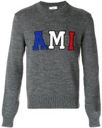Мужской темно-серый свитер с круглым вырезом от AMI Alexandre Mattiussi