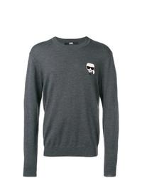 Мужской темно-серый свитер с круглым вырезом от Karl Lagerfeld