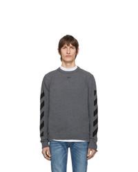Мужской темно-серый свитер с круглым вырезом от Off-White