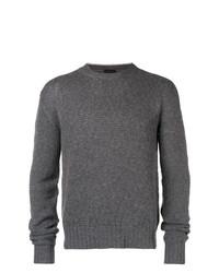 Мужской темно-серый свитер с круглым вырезом от Prada