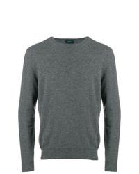 Мужской темно-серый свитер с круглым вырезом от Zanone