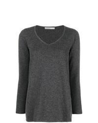 Темно-серый свитер с v-образным вырезом
