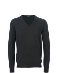 Мужской темно-серый свитер с v-образным вырезом от Zanone