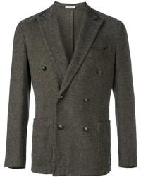 Мужской темно-серый хлопковый двубортный пиджак от Boglioli
