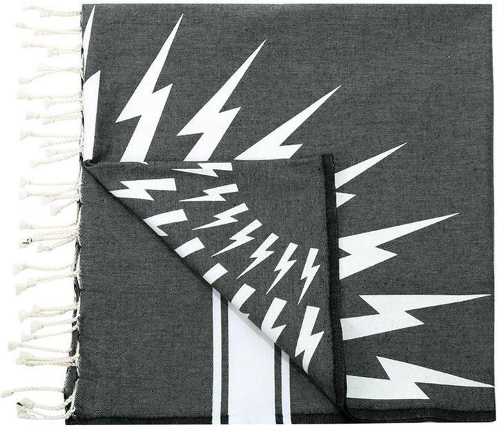 Мужской темно-серый хлопковый шарф с принтом от Neil Barrett