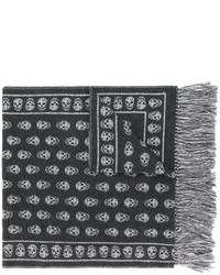 Женский темно-серый шарф с принтом от Alexander McQueen