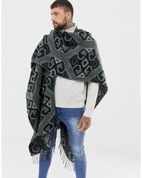Мужской темно-серый шарф с принтом от ASOS DESIGN