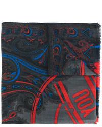 Мужской темно-серый шарф с принтом от Etro