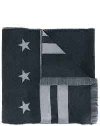 Мужской темно-серый шарф с принтом от Givenchy