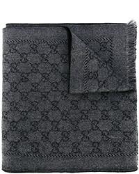 Мужской темно-серый шарф с принтом от Gucci