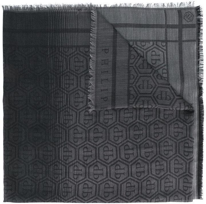 Мужской темно-серый шарф с принтом от Philipp Plein