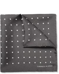 Темно-серый шелковый нагрудный платок в горошек от Turnbull & Asser