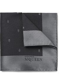 Мужской темно-серый шелковый нагрудный платок от Alexander McQueen